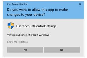 UAC prompt in Windows 10