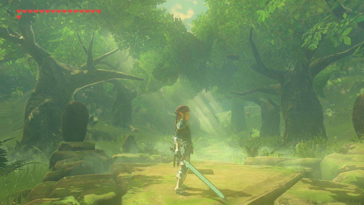 Wielding the Master Sword in The Legend of Zelda: Breath of the Wild.