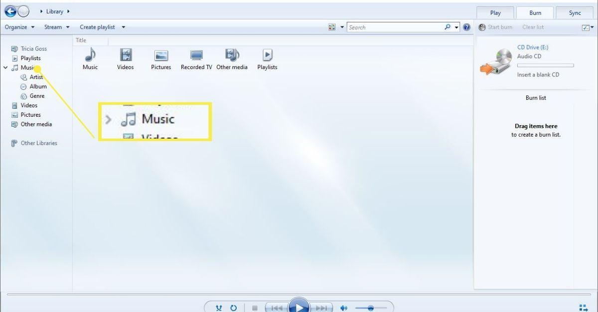 Music folder in left pane
