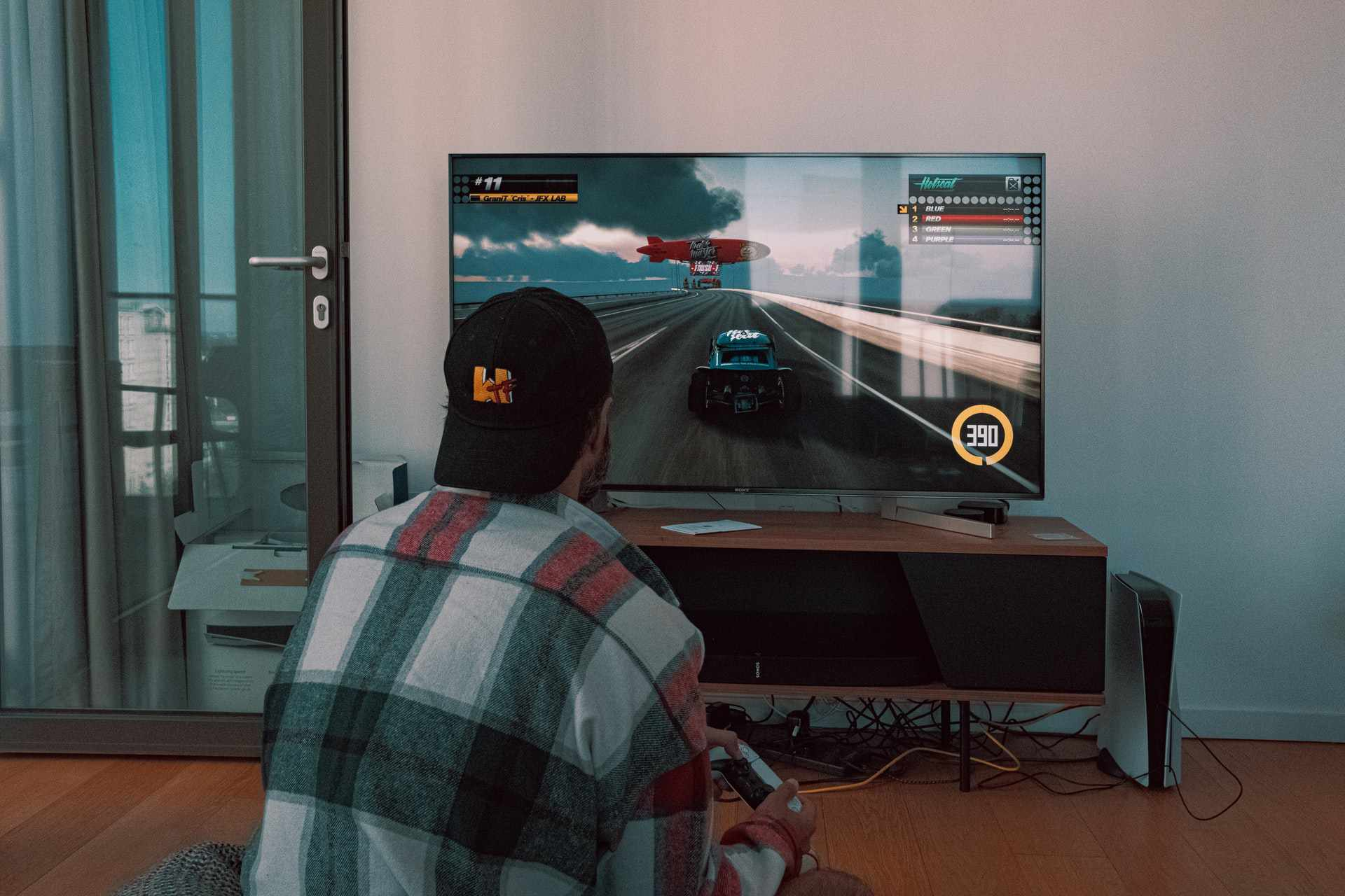 Man racing on PS5