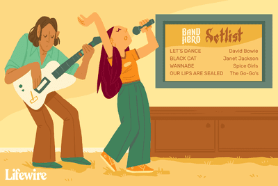Two gamers playing Band Hero next to a TV with a Band Hero Setlist on its screen