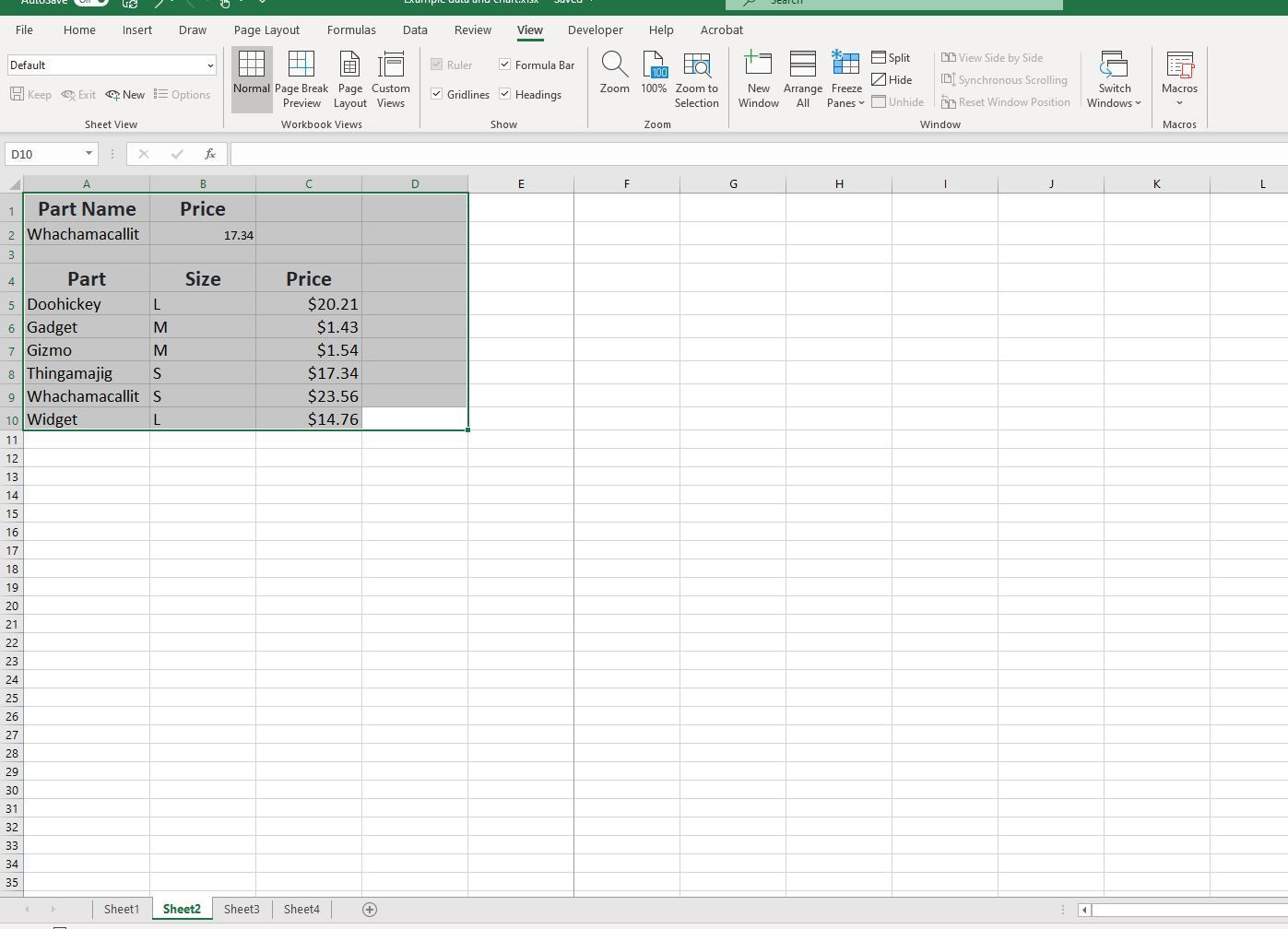 Selected cells in Excel