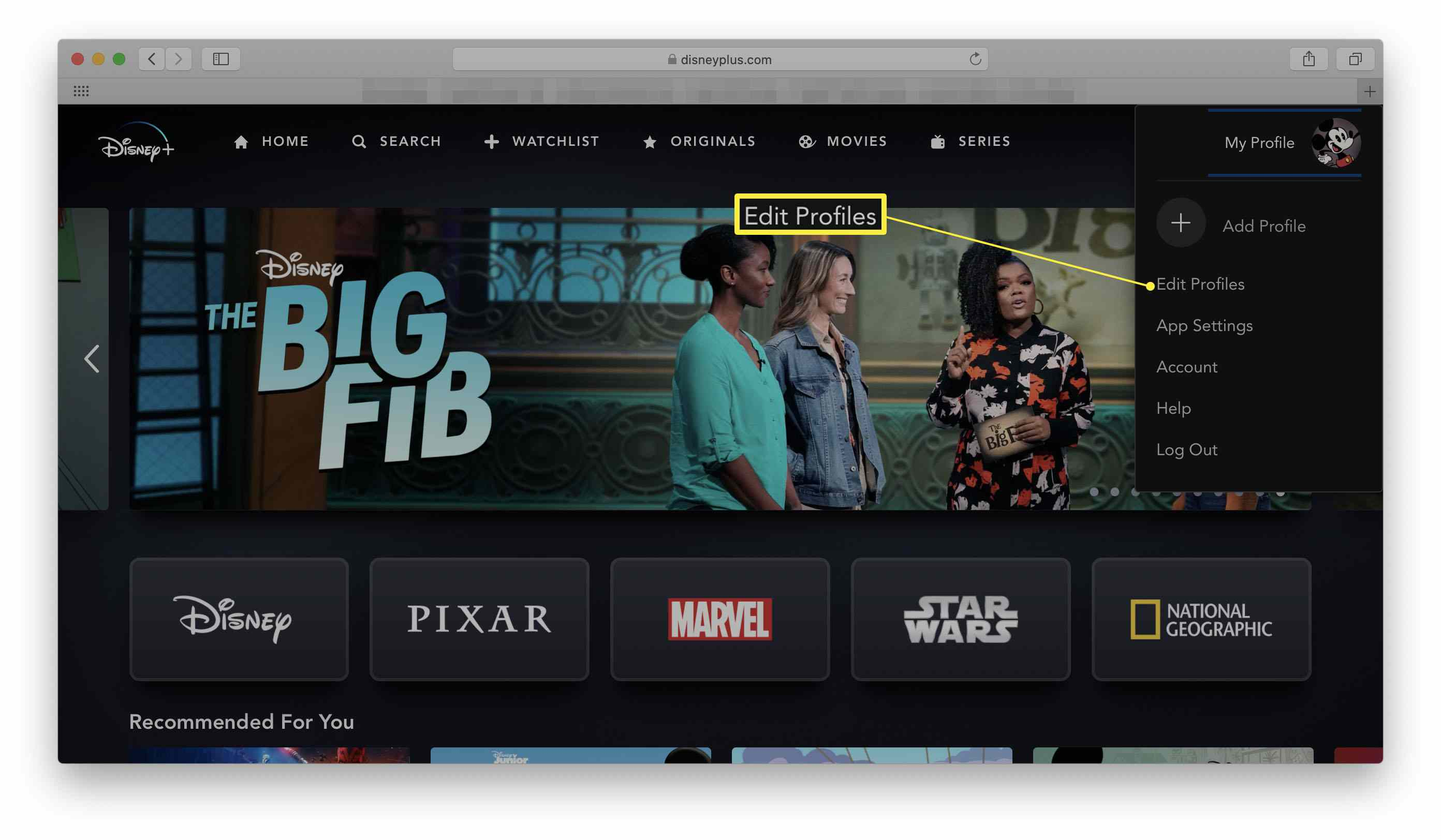 Disney+ in a web browser with Edit Profiles highlighted