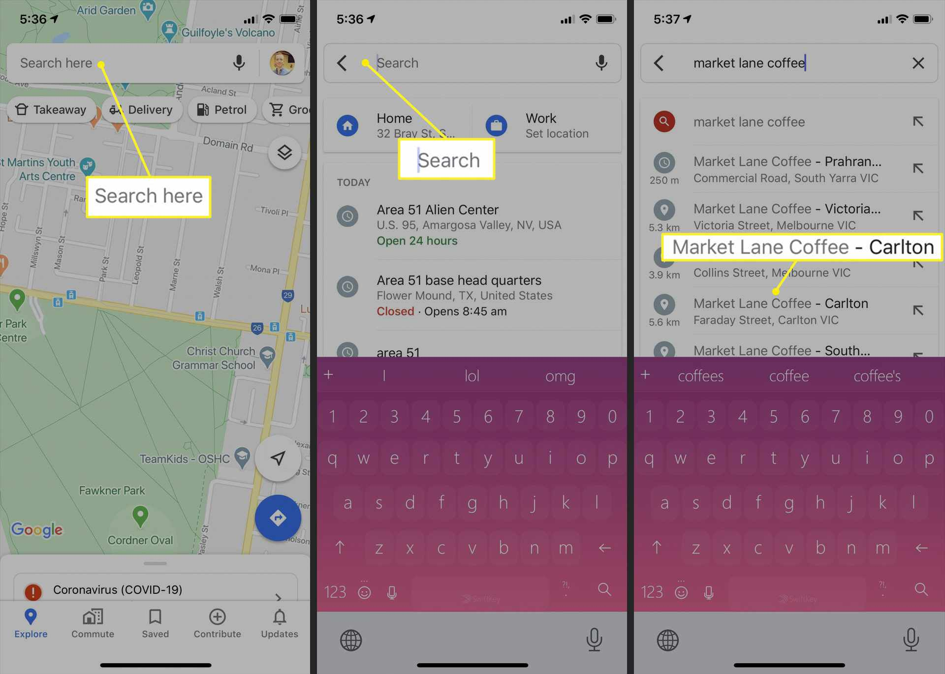 Google Maps app on iPhone showing location search path