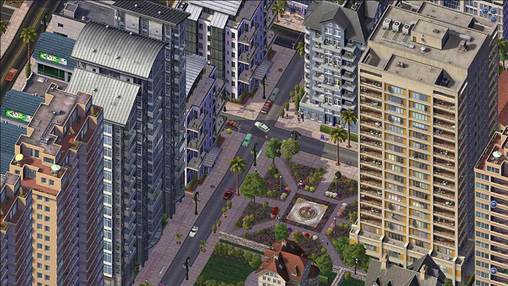 Aerial view of SimCity 4 city buildings