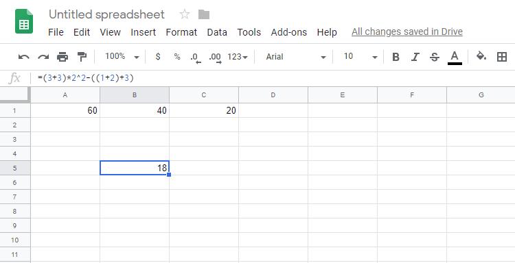 Subtracting in Google Spreadsheets