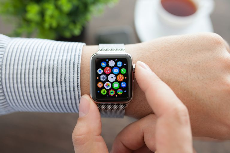 An Apple Watch on a person's wrist.