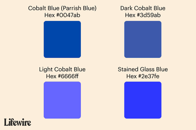 Cobalt blue color swatches with Hex #s