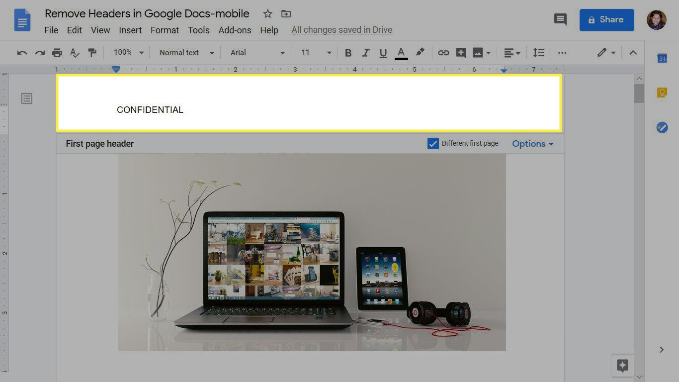 Adding text to a header in Google Docs