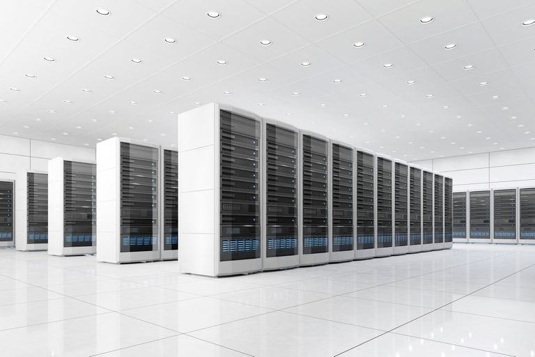 Data centre, illustration in huge white room
