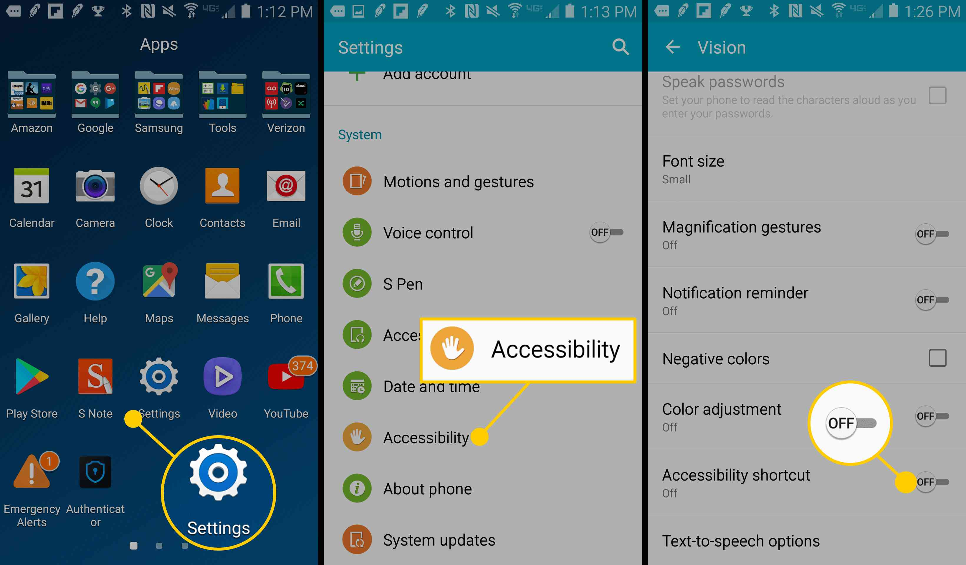 Screenshots showing how to turn accessibility options on.