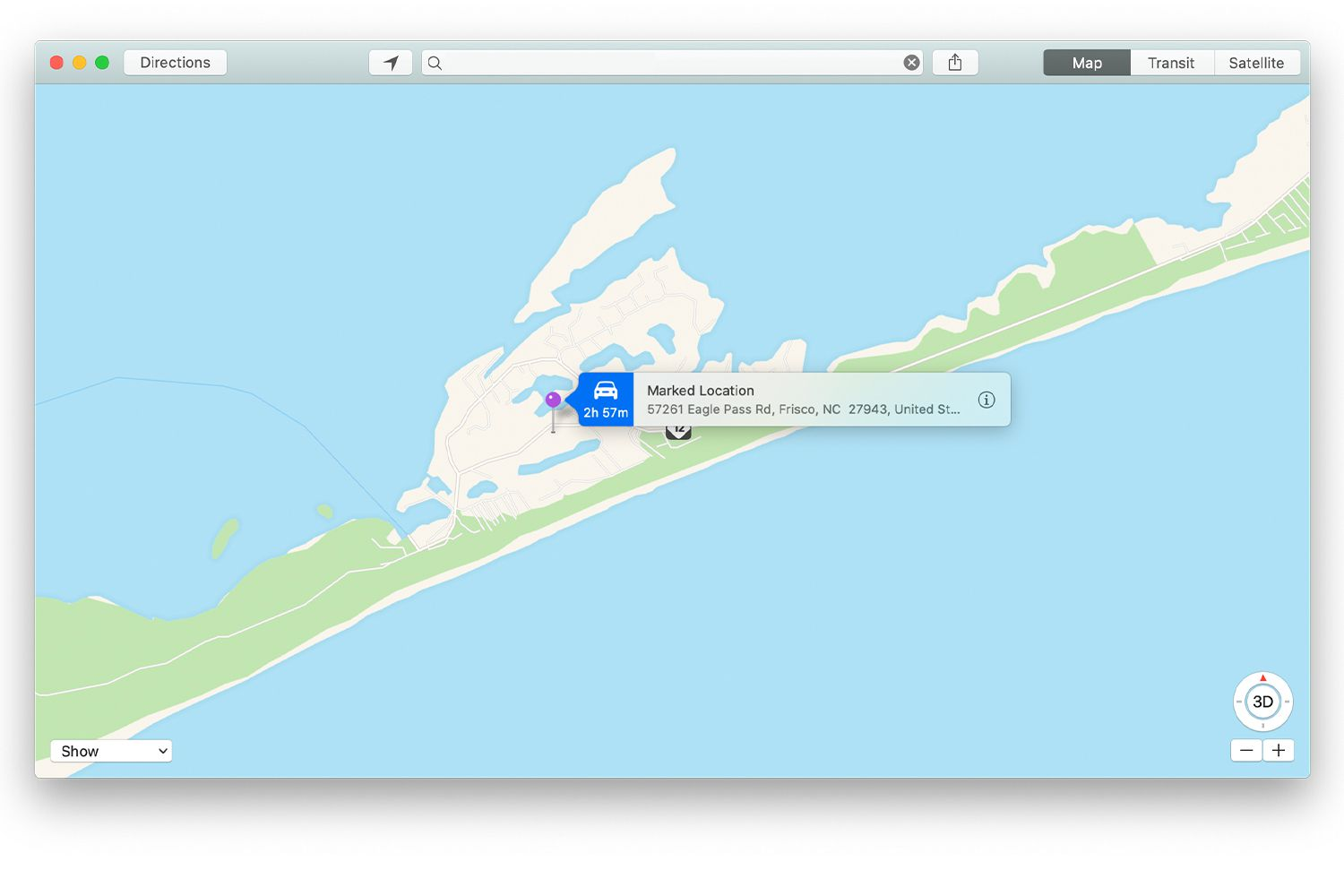Banner accompanying dropped pin in Mac Maps app