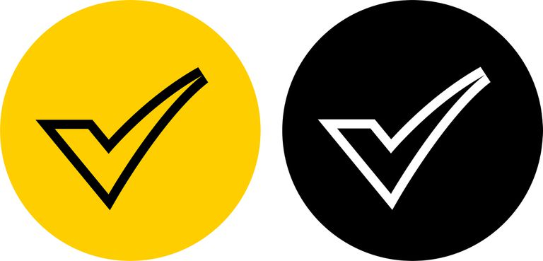 Two check marks, one in yellow and one in black