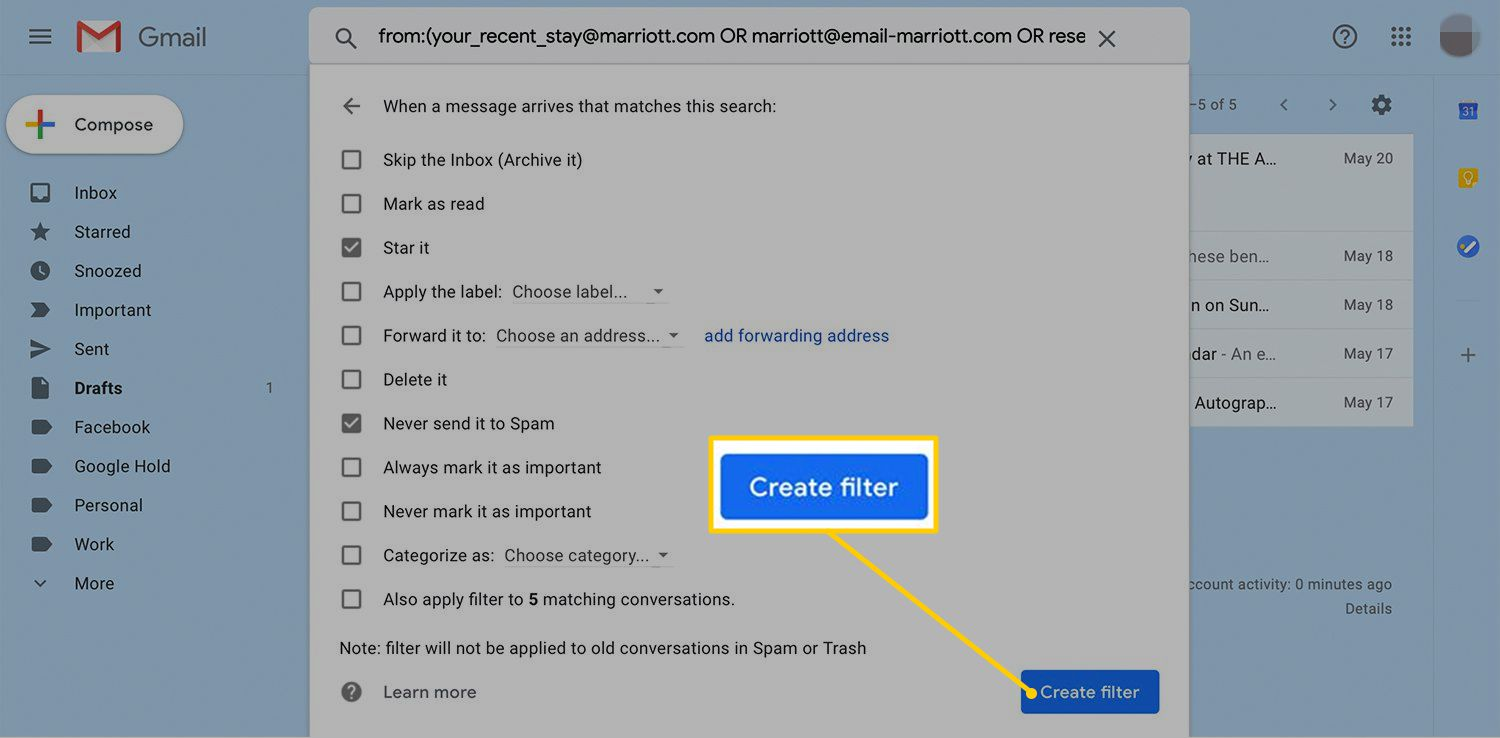 Create filter button in Gmail