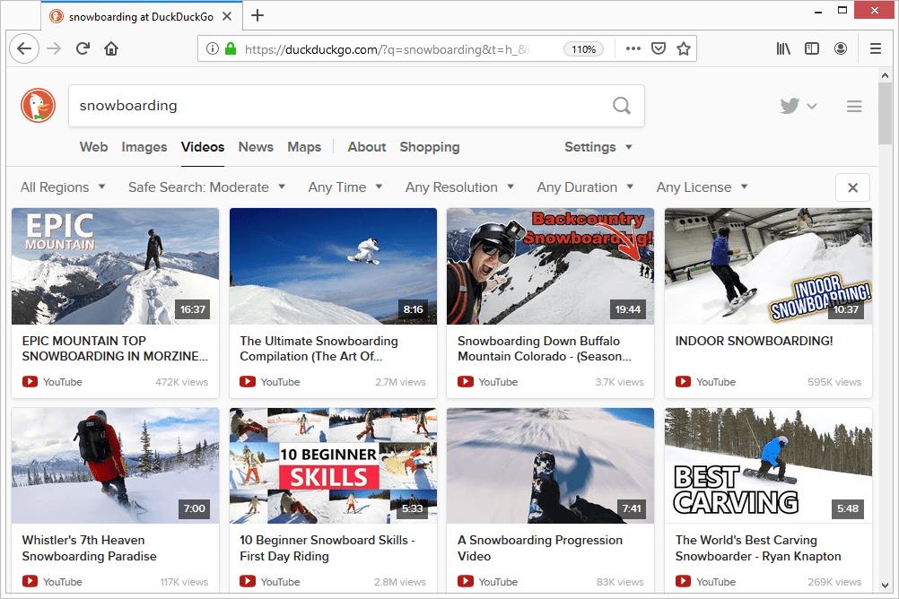 DuckDuckGo snowboarding video results
