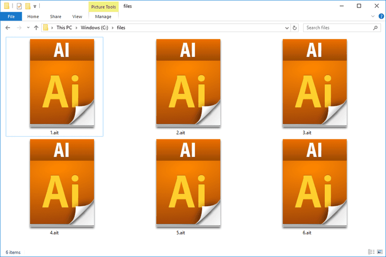 Screenshot of several AIT files in Windows 10