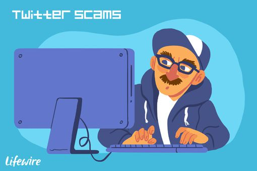 An illustration depicting a Twitter scammer.