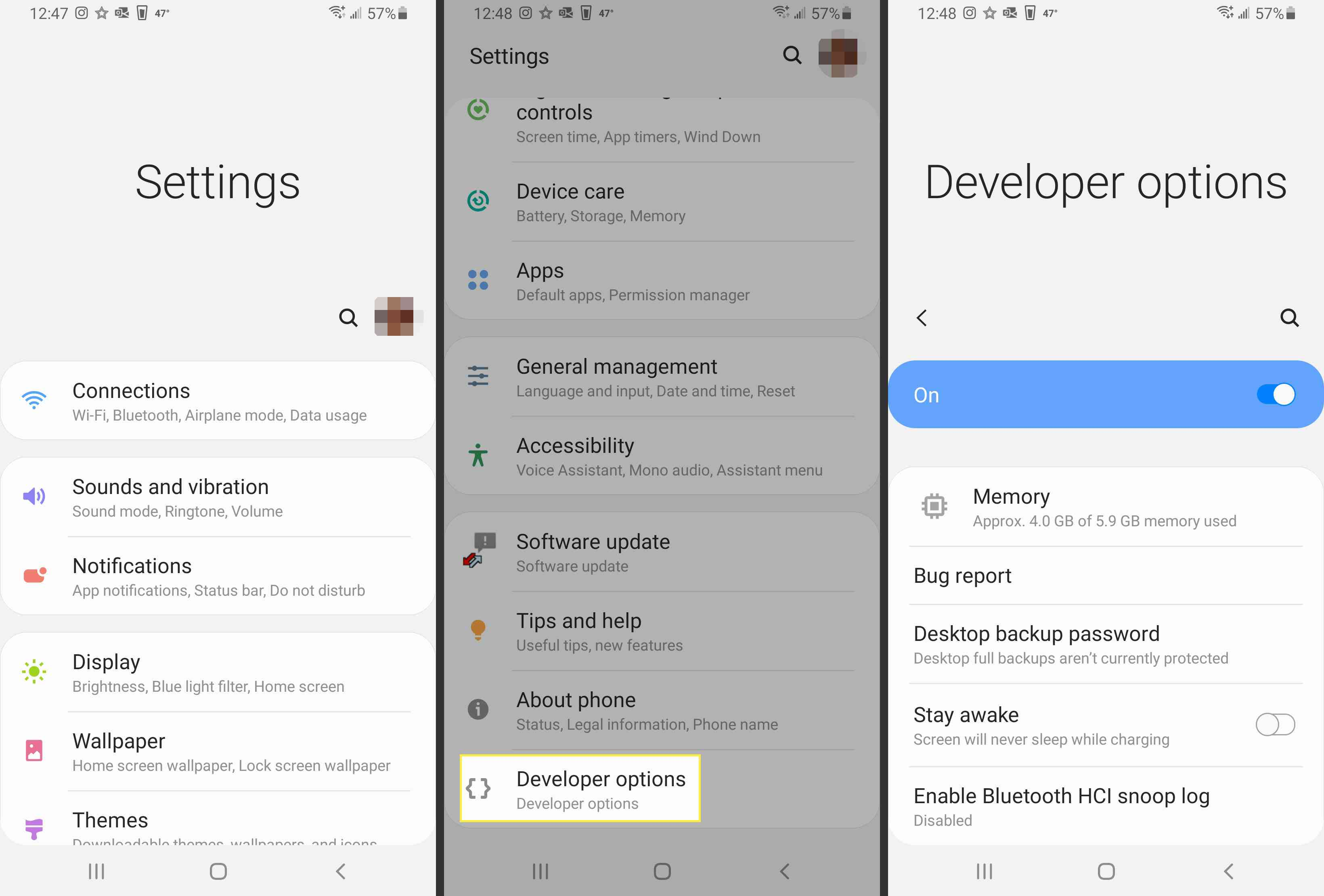 Navigating to Developer options in Android.