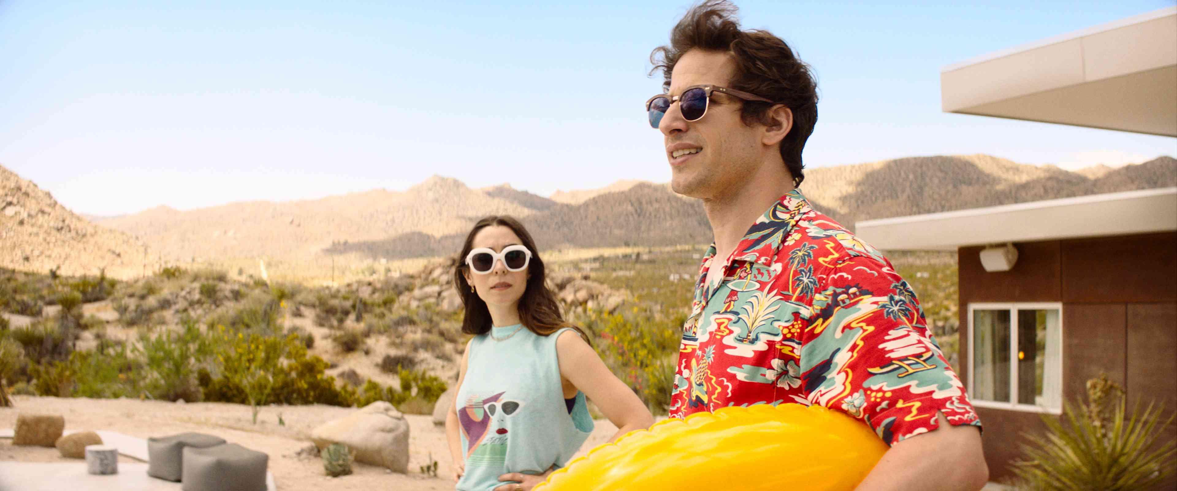 Andy Samberg and Cristin Millioti in Palm Springs