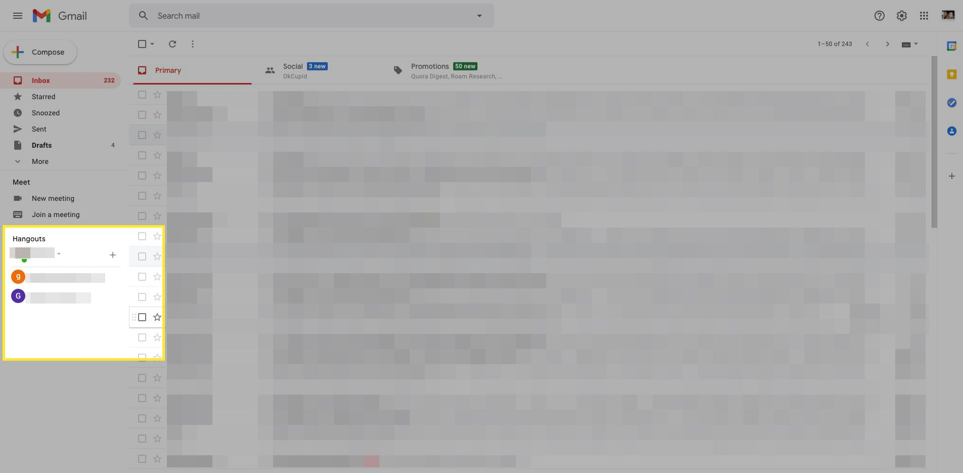 Gmail inbox screen with Hangouts section highlighted