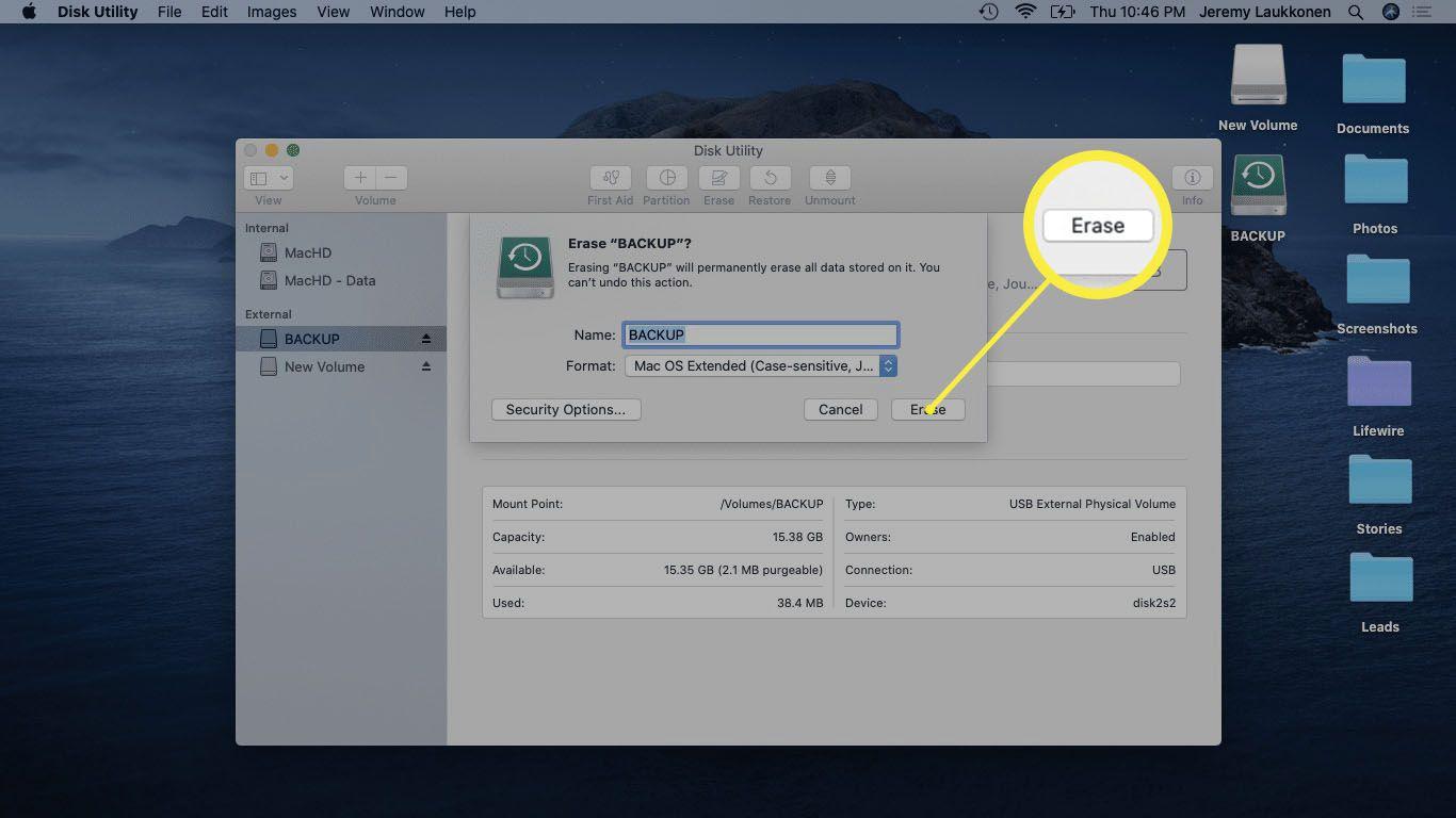 A screenshot of formatting a USB drive on Mac.