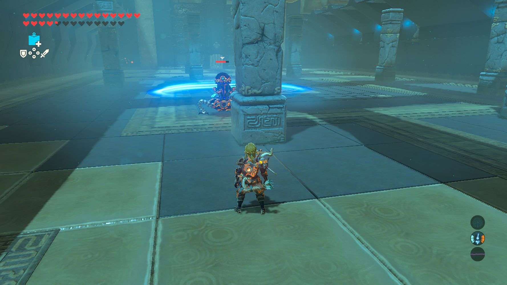 Screenshot of hiding from a Guardian in Breath of the Wild