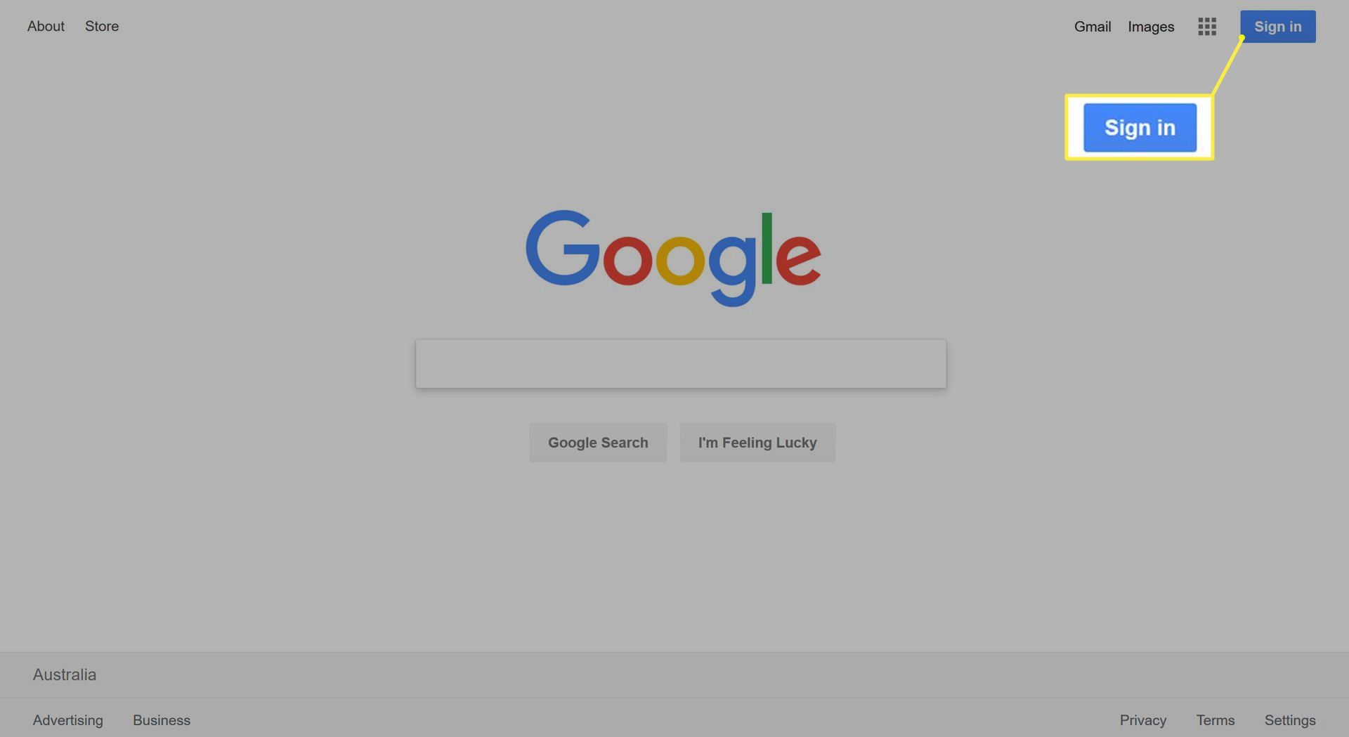 Sign in button on Google home page