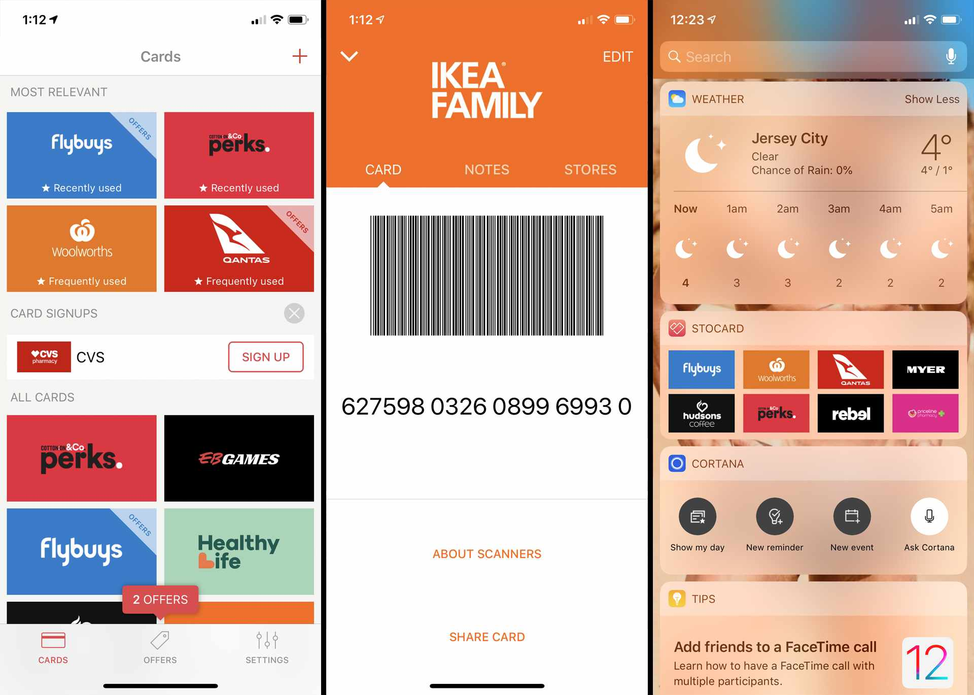 Stocard membership card app on iPhone.