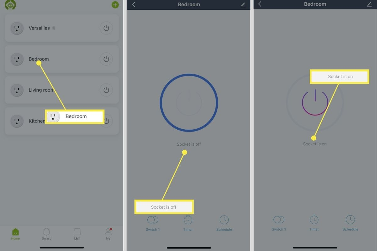 Turning on/off a smart plug via the Gosund app.