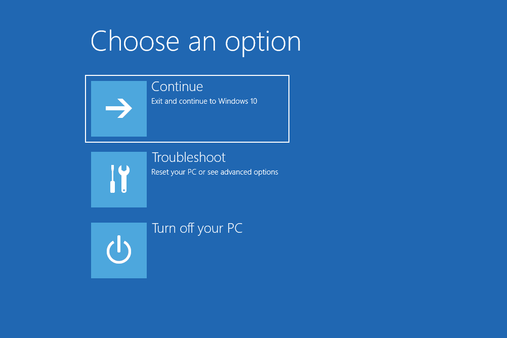 Windows 10 Choose an option screen