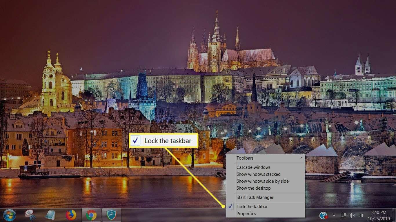 Lock the taskbar in Taskbar menu