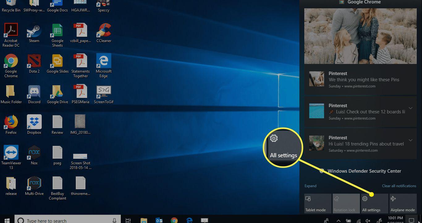 Windows desktop showing All Settings location