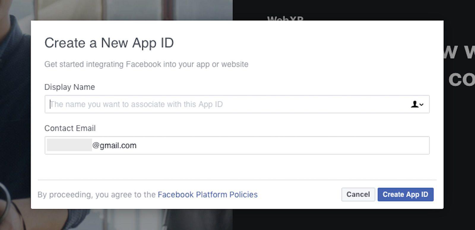 Creating new app ID