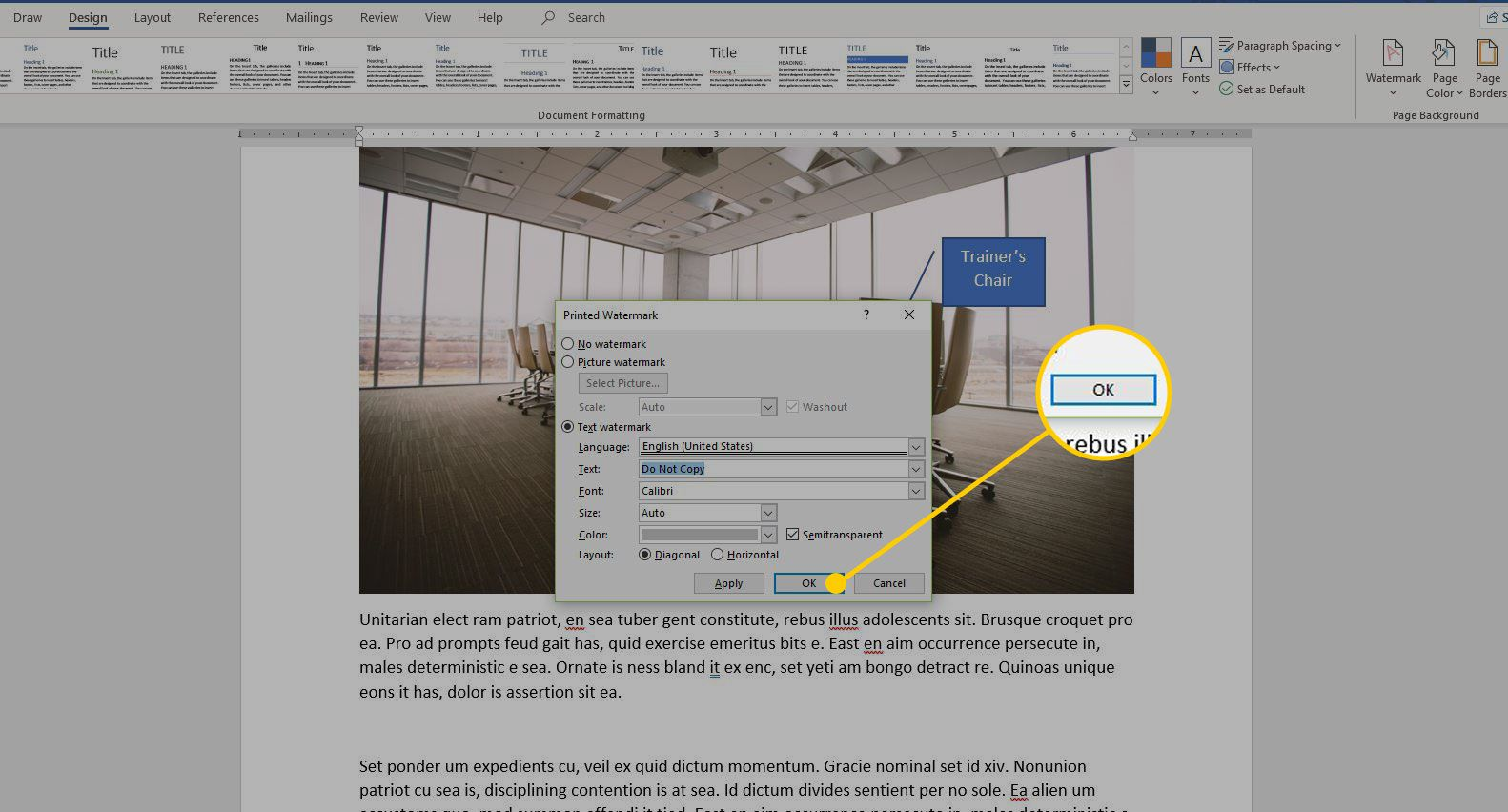 Printed Watermark menu in Word with the OK button highlighted