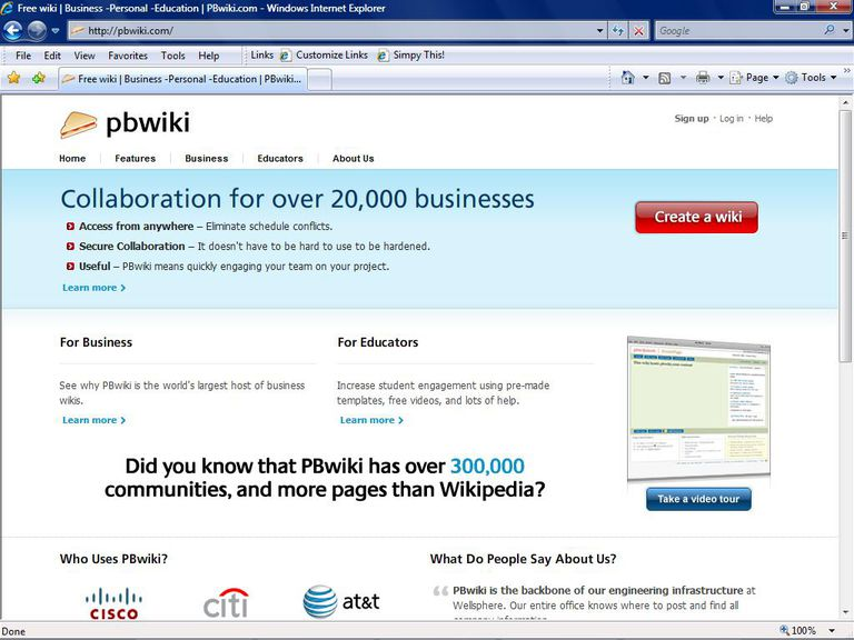 PBWiki specializes in the business wiki.