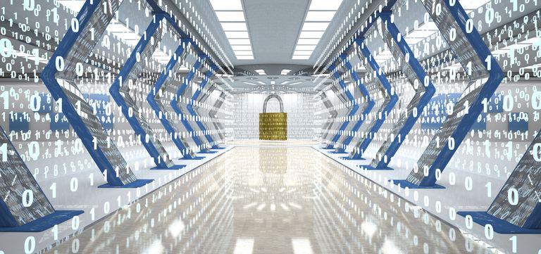 Futuristic digital room with padlock and binary code, 3d illustration