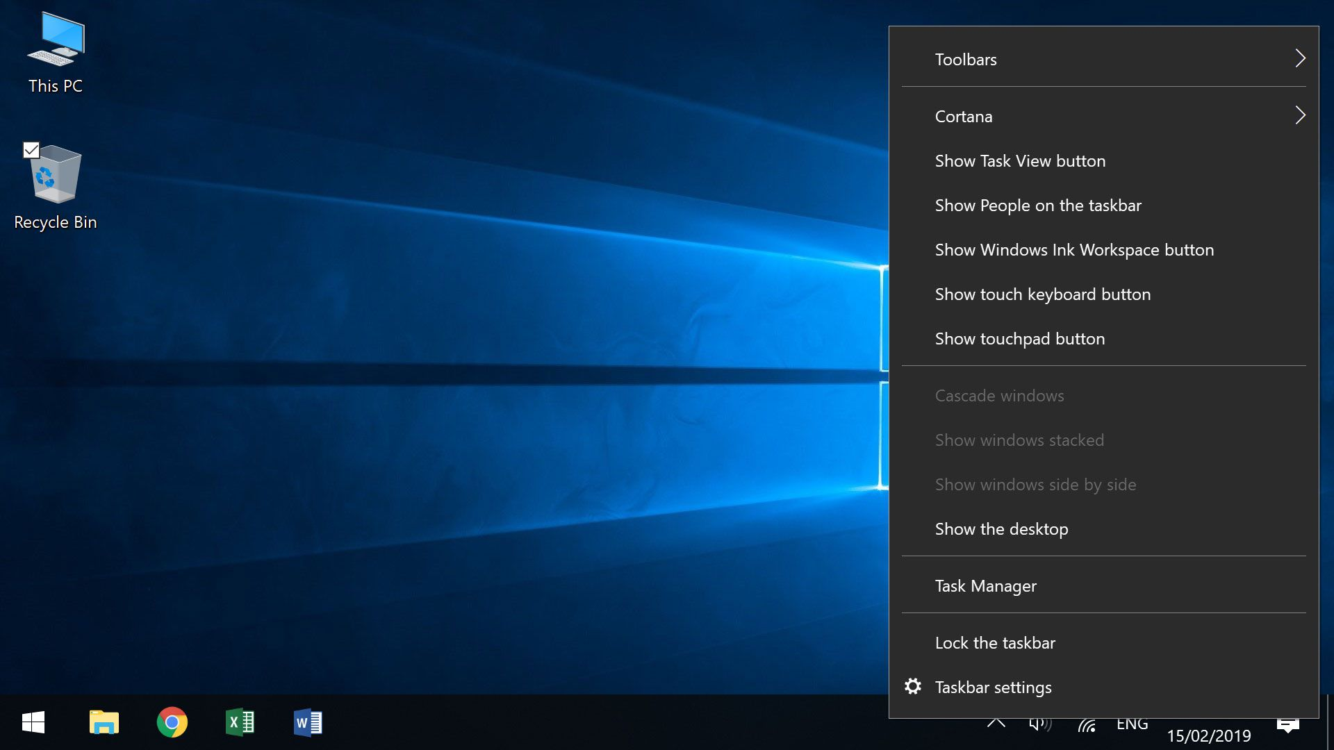 Taskbar menu used to load Taskbar settings and show a hidden WIndows Battery Icon