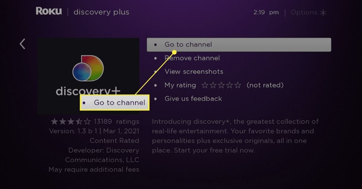 Go to channel selected on the Discovery+ page on Roku.