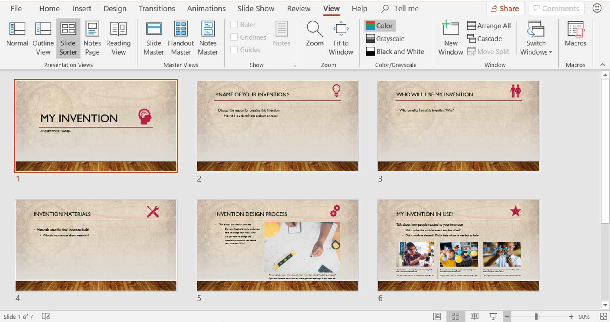 Screenshot showing Slide Sorter view in PowerPoint
