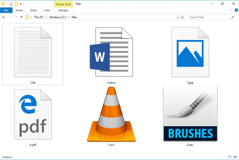 Screenshot of several files in a folder