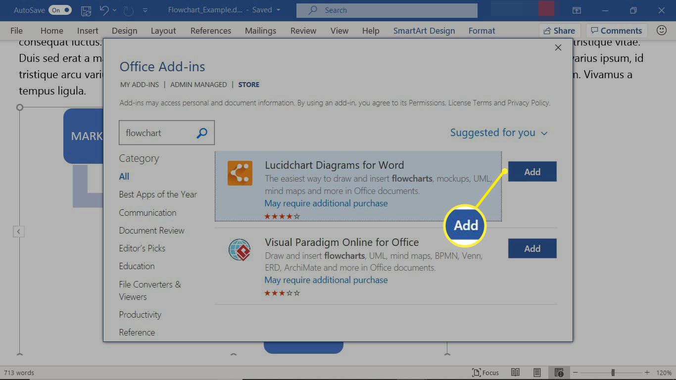 The Office Add-ins store showing flowchart add-ins for Word