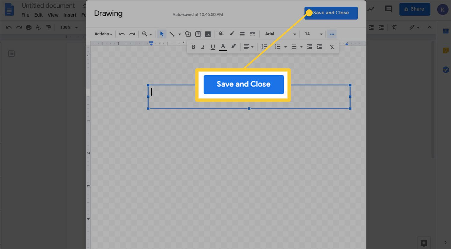 Drawing menu with Save and Close option