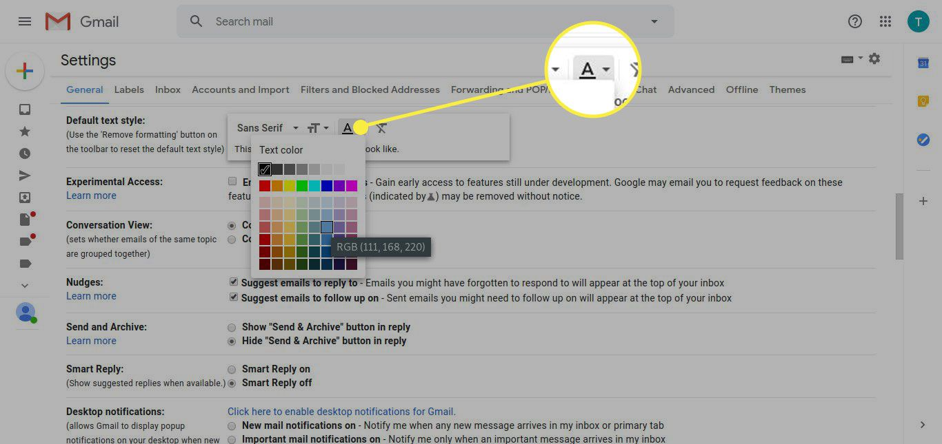 The Gmail Default Text Style options with the Text Color option highlighted