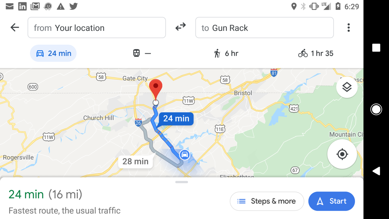 Screenshot of Google Maps search results