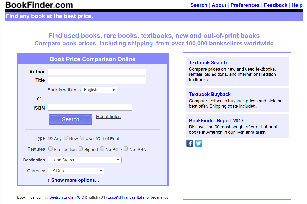BookFinder.com website