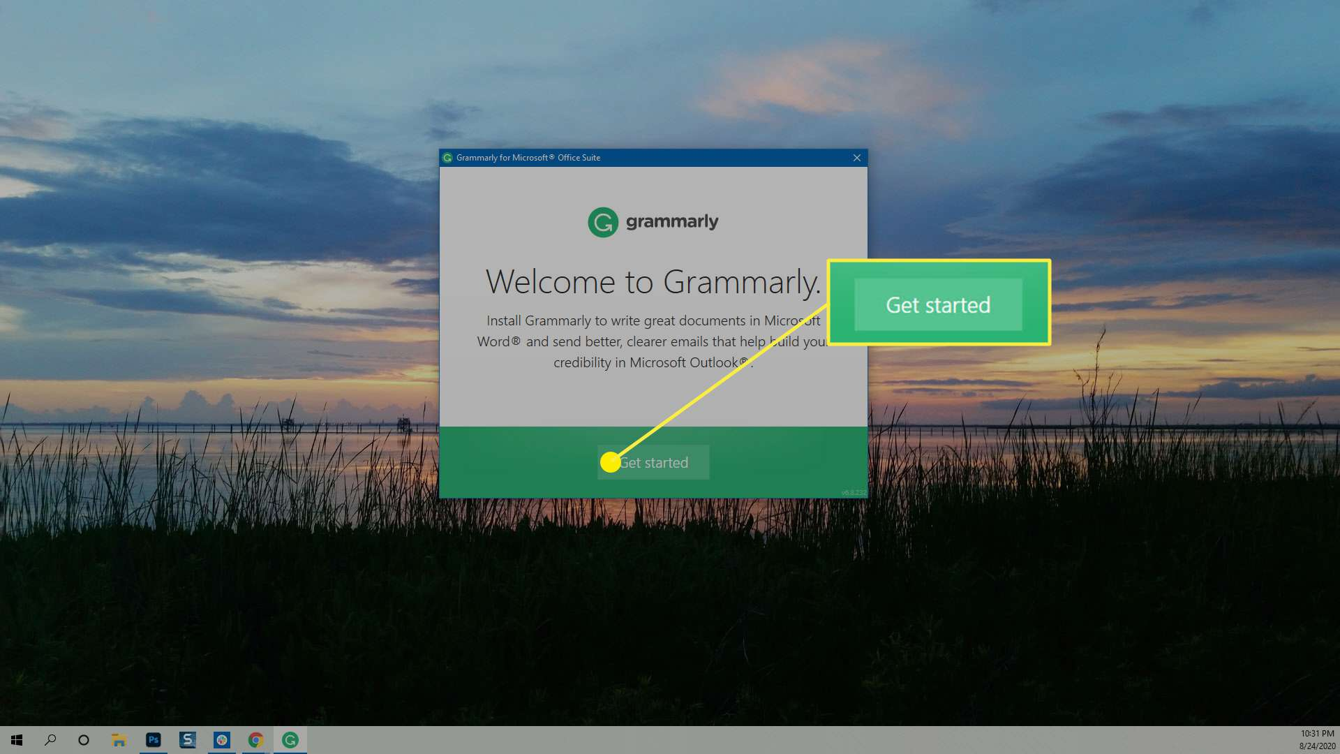 Getting started installing Grammarly for MS Word.