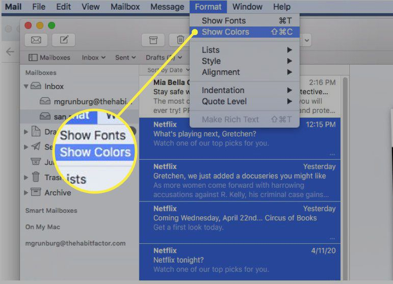 emoving highlighting in Apple Mail messages