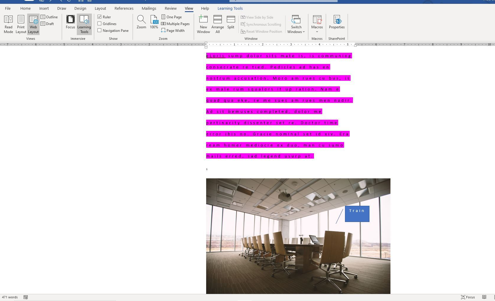 Screenshot of Web Layout in Word