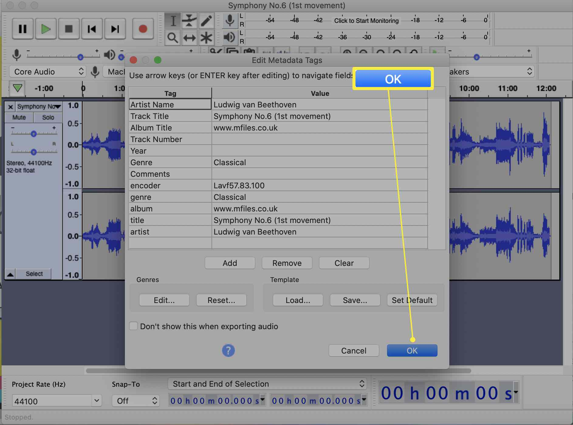 Audacity app with Export to MP3 dialog highlighted with the option to edit Metadata Tags