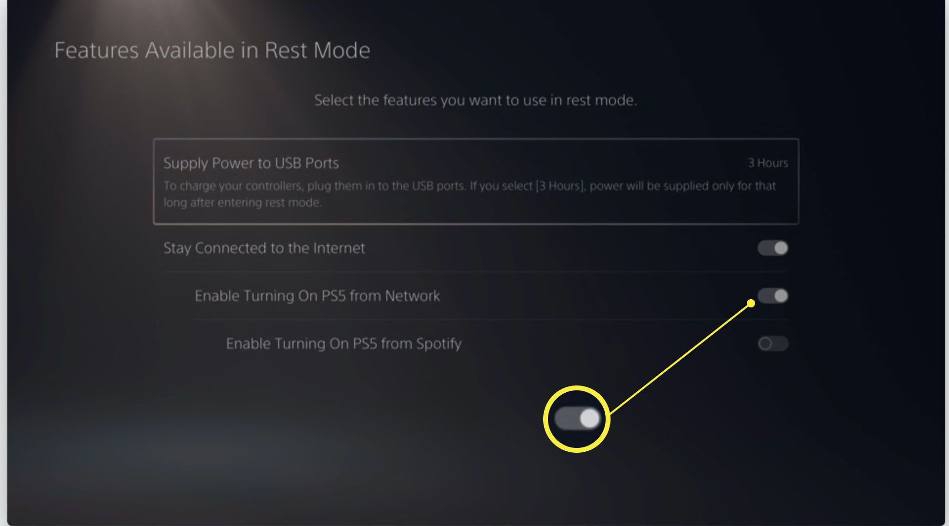 Playstation 5 power saving settings with Stay Connected to the Internet and Enable Turning on PS5 from Network highlighted